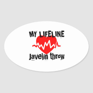 My Life Line Javelin throw Sports Designs Oval Sticker