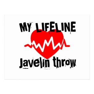 My Life Line Javelin throw Sports Designs Postcard