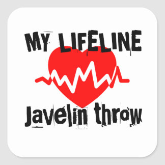 My Life Line Javelin throw Sports Designs Square Sticker