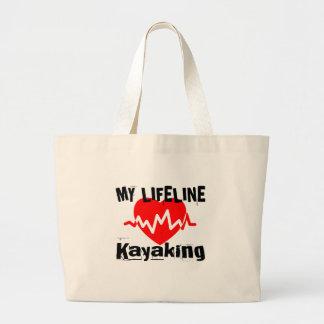 My Life Line Kayaking Sports Designs Large Tote Bag