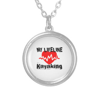 My Life Line Kayaking Sports Designs Silver Plated Necklace