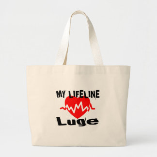 My Life Line Luge Sports Designs Large Tote Bag