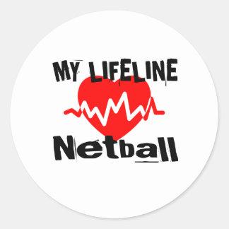 My Life Line Netball Sports Designs Classic Round Sticker