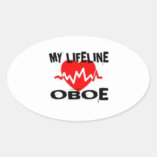 MY LIFE LINE OBOE MUSIC DESIGNS OVAL STICKER