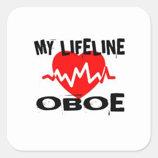 MY LIFE LINE OBOE MUSIC DESIGNS SQUARE STICKER