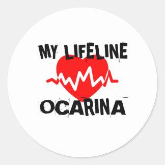 MY LIFE LINE OCARINA MUSIC DESIGNS CLASSIC ROUND STICKER