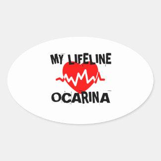 MY LIFE LINE OCARINA MUSIC DESIGNS OVAL STICKER