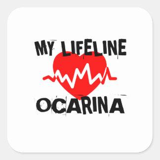 MY LIFE LINE OCARINA MUSIC DESIGNS SQUARE STICKER