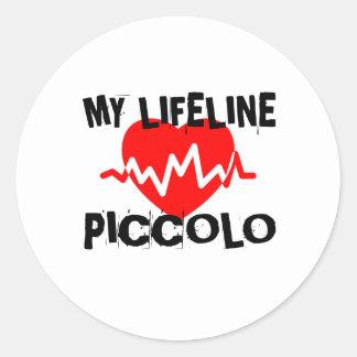 MY LIFE LINE PICCOLO MUSIC DESIGNS CLASSIC ROUND STICKER