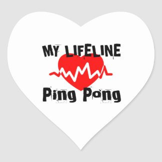 My Life Line Ping Pong Sports Designs Heart Sticker