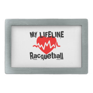My Life Line Racquetball Sports Designs Rectangular Belt Buckle