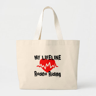 My Life Line Rodeo Riding Sports Designs Large Tote Bag