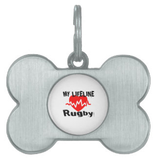 My Life Line Rugby Sports Designs Pet Name Tag