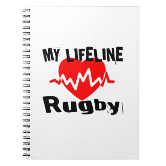 My Life Line Rugby Sports Designs Spiral Notebook