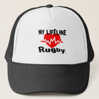 My Life Line Rugby Sports Designs Trucker Hat