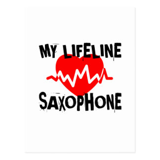 MY LIFE LINE SAXOPHONE MUSIC DESIGNS POSTCARD
