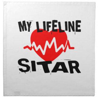 MY LIFE LINE SITAR MUSIC DESIGNS NAPKIN