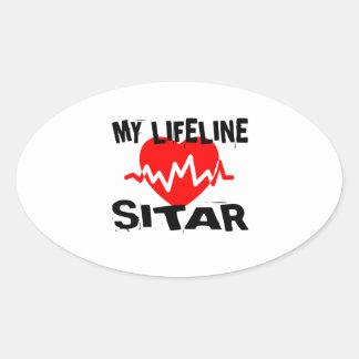 MY LIFE LINE SITAR MUSIC DESIGNS OVAL STICKER