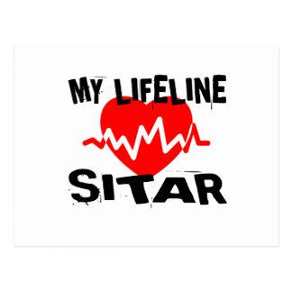 MY LIFE LINE SITAR MUSIC DESIGNS POSTCARD