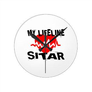 MY LIFE LINE SITAR MUSIC DESIGNS ROUND CLOCK