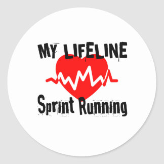 My Life Line Sprint Running Sports Designs Classic Round Sticker
