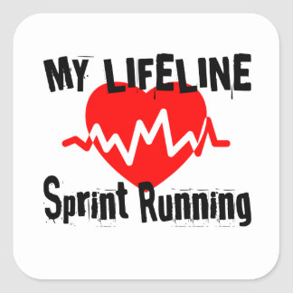 My Life Line Sprint Running Sports Designs Square Sticker