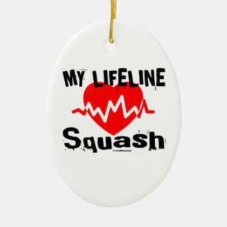 My Life Line Squash Sports Designs Ceramic Ornament