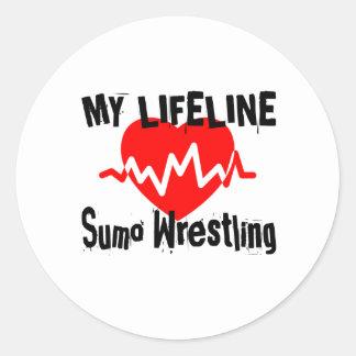 My Life Line Sumo Wrestling Sports Designs Classic Round Sticker