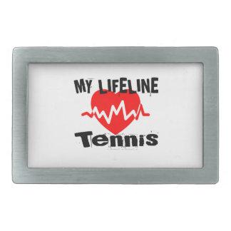 My Life Line Tennis Sports Designs Rectangular Belt Buckles