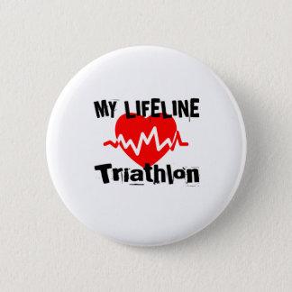 My Life Line Triathlon Sports Designs 2 Inch Round Button