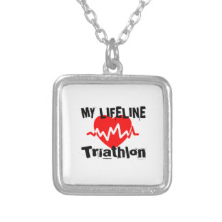 My Life Line Triathlon Sports Designs Silver Plated Necklace