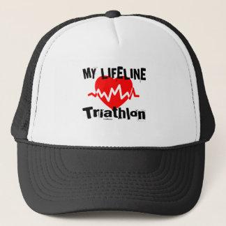 My Life Line Triathlon Sports Designs Trucker Hat
