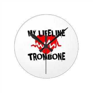 MY LIFE LINE TROMBONE MUSIC DESIGNS ROUND CLOCK