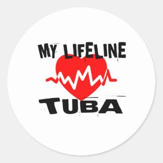 MY LIFE LINE TUBA MUSIC DESIGNS CLASSIC ROUND STICKER