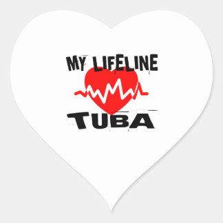 MY LIFE LINE TUBA MUSIC DESIGNS HEART STICKER