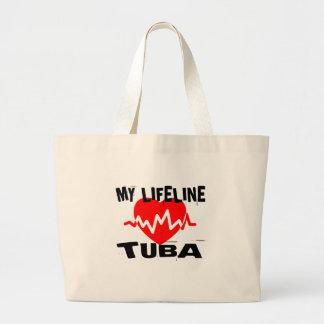 MY LIFE LINE TUBA MUSIC DESIGNS LARGE TOTE BAG