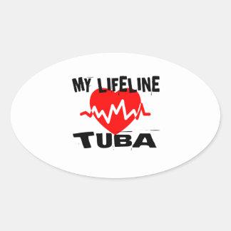 MY LIFE LINE TUBA MUSIC DESIGNS OVAL STICKER
