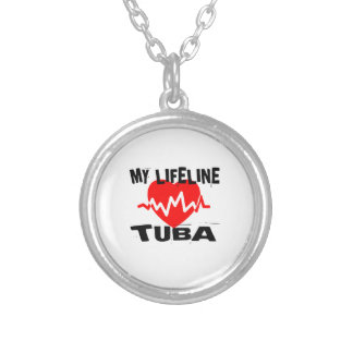 MY LIFE LINE TUBA MUSIC DESIGNS SILVER PLATED NECKLACE