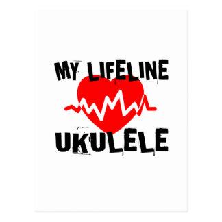 MY LIFE LINE UKULELE MUSIC DESIGNS POSTCARD