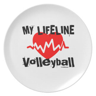 My Life Line Volleyball Sports Designs Plate