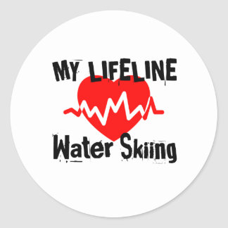 My Life Line Water Skiing Sports Designs Classic Round Sticker