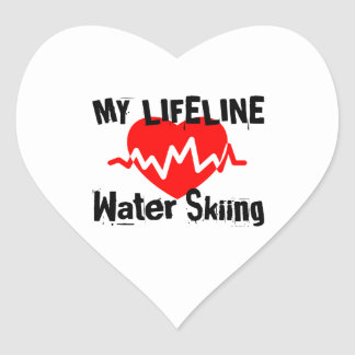 My Life Line Water Skiing Sports Designs Heart Sticker