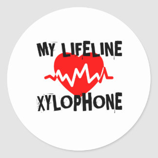 MY LIFE LINE XYLOPHONE MUSIC DESIGNS CLASSIC ROUND STICKER