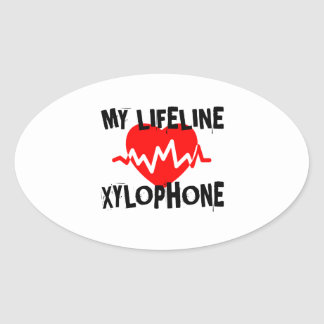 MY LIFE LINE XYLOPHONE MUSIC DESIGNS OVAL STICKER