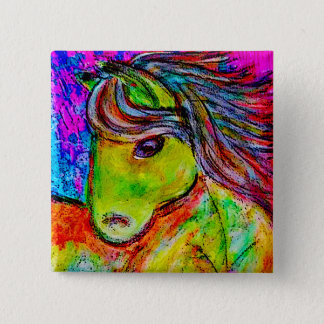 my little neon pony 2 inch square button