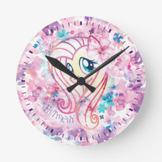 My Little Pony | Fluttershy Floral Watercolor Round Clock