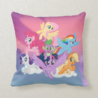My Little Pony | Mane Six on Clouds Throw Pillow