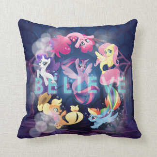 My Little Pony | Mane Six Seaponies - Believe Throw Pillow