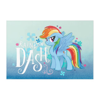 My Little Pony | Rainbow Dash Watercolor Flowers Acrylic Print