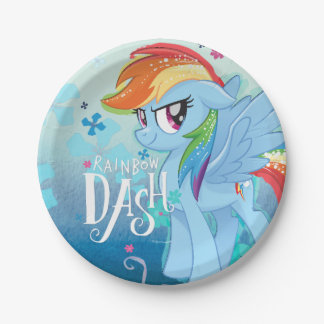 My Little Pony   Rainbow Dash Watercolor Flowers Paper Plate